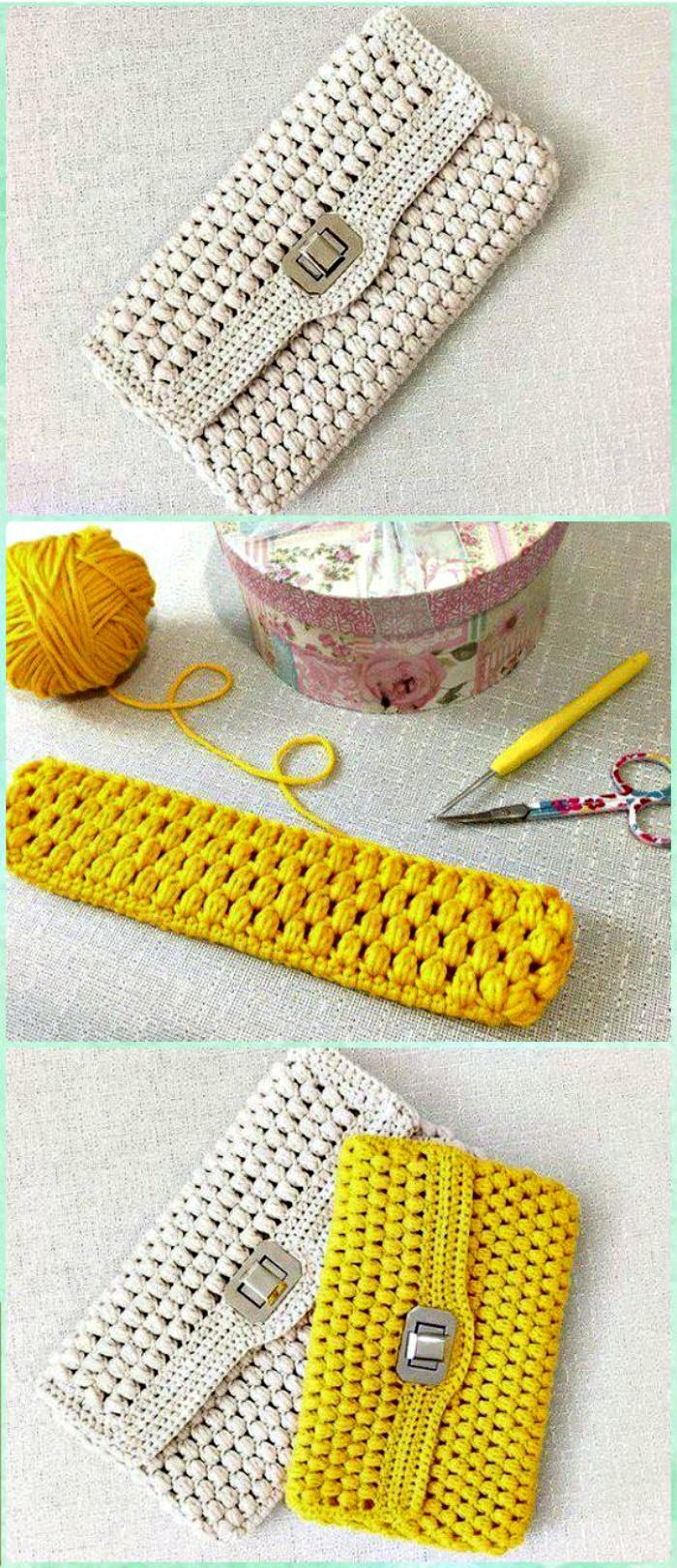 Crochet Puff Clutch crochet clutch bag